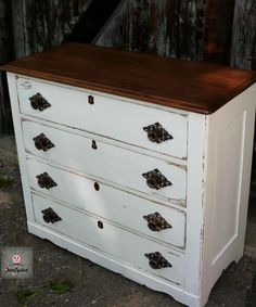 Distressed white dresser with wood top by FunCycled. www.funcycled.com