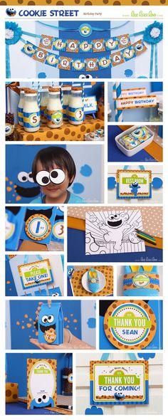 Cookie Street Birthday Party Package Collection Set Mega Printable Design by leelaaloo.com #leelaaloo #birthday #party