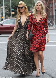 Matching...again: Paris, left, and Nicky Hilton, right, coordinated in printed dresses as ...