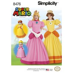 Become a video game princess! Sew these Nintendo Super Mario Bros. Princess Peachy and Princess Daisy Costumes for Misses. Simplicity sewing pattern. Find it at simplicity.com.