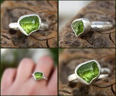 Peridot natural rough crystal sterling silver ring by aifosjewels. Love the rough stone look!