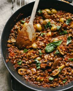 Simple lentil bolognese with olives perfect for Saturday night or any other night for that matter by goodeatings