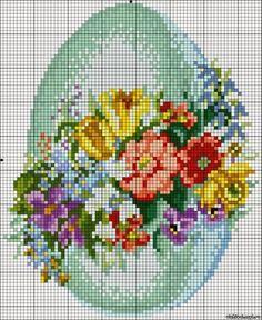 """Милые сердцу штучки: Пасхальная вышивка в стиле ретро: """"Яйцо в цветочной гирлянде"""""""