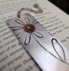 Mixed Metal Bookmark Hand Stamped Flower with Copper and Cold Connections - Read & Grow- CIJ