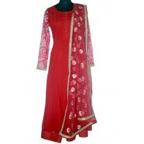 red anarkali with beautiful dupatta