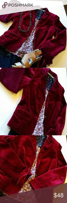 "J. Crew velvet jacket Astonishing maroon color, velvet feeling to it with silver lining. Very flattering cut with hooks to close and  slits at the hem of the sleeves.  Immaculate condition. Brand new looking. Dry clean only.  Lenght 21"", bust 17.5"", waist 15.5"" J. Crew Jackets & Coats"