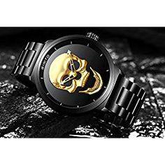 43704e8f3bb4 Hombre de cráneo creativo reloj Cool acero inoxidable grande dial Vintage  Boy cuarzo reloj militar (Oro negro)
