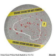 Crime Scene T-Bone Steak Asphalt Party Plate  #plate #tbone #steak #crime #scene #beef #barbeque #barbecue #grill #grilling #tape #police #line #sirloin #asphalt #raw #rare #blood #meat #chalk #outline #porterhouse