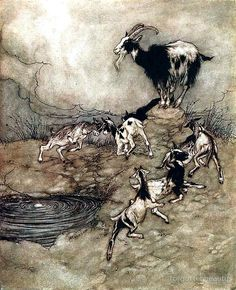 """Arthur Rackham illustration to Grimm's Fairy Tales: """"The Wolf and the Seven Little Kids"""" 1917 Arthur Rackham, Wolf, Classic Fairy Tales, Brothers Grimm, Ecole Art, Grimm Fairy Tales, Fairytale Art, Fairytale Drawings, Book Illustration"""