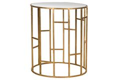 Lennon Mirrored Glass Accent Table, Gold on OneKingsLane.com