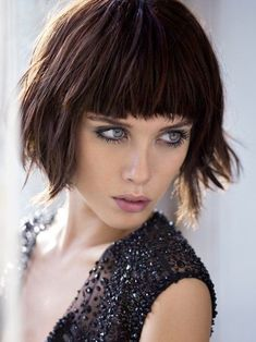 Chin-Length Bob Hairstyles: Shaggy Bob Haircut with Blunt Bangs by lynn