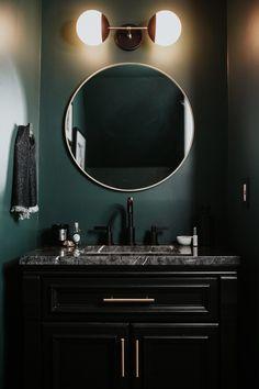 Meg Biram Dark Green Powder Room Renovation