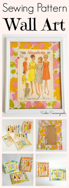 Create gorgeous, fun wall art using vintage sewing pattern envelopes and old bed linen fabric...then encase them in thrift store picture frames! Super inexpensive and easy to make, perfect for a sewing or craft room...powder room...or even a child's bedroom! #SadieSeasongoods / www.sadieseasongoods.com