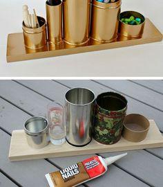 Quelques pots collés sur une planche , une bombe de peinture dorée et voilà !                     source