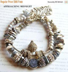 labradorite bracelet, artisan bracelet, gemstone bracelet, druzy bracelet, multi strand bracelet, pearl bracelet, christmas for her