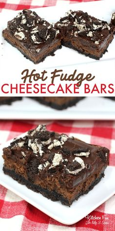 Fudge Bars are an amazing dessert with a cream cheese filling and an Oreo crust. This is a chocolate lovers dream!Hot Fudge Bars are an amazing dessert with a cream cheese filling and an Oreo crust. This is a chocolate lovers dream! Cheesecake Bars, Chocolate Cheesecake, Cheesecake Recipes, Hot Fudge, Party Desserts, Dessert Recipes, Tolle Desserts, Oreo Crust, Delicious Desserts