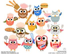 Chef owls Digital clip art for Personal and by Giftseasonstore, $2.00