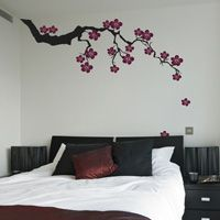 Exotic Sakura Branch with Falling Blossoms - Wall Decals, 85.00