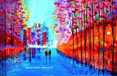 RAINY NIGHTS original oil painting love couple rain cityscape signed modern art  #Impressionism