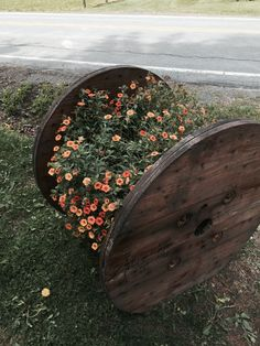 Cable Reel Planter By Julie Jalowiec