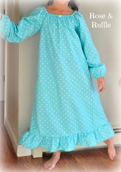 Custom flannel nightgowns in cheerful, spring-like colors. Baby Girls through Girls size 10
