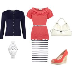 Love the navy and coral. Perfect outfit for spring!