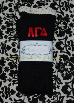 Sorority Grace and Lace boot socks from The Embroidery Chick.