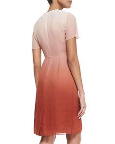 Degrade Pleated-Bib Dress, Russet