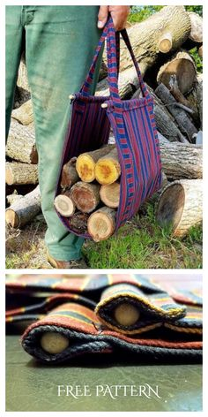 5 DIY Fabric Firewood Carrier Free Sewing Patterns | Fabric Art DIY Sewing Patterns Free, Free Sewing, Firewood Carrier, Hobbies And Crafts, Fabric Art, Little Things, Homesteading, Straw Bag, Sewing Projects