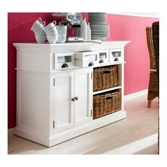 Store your extra dinnerware, flatware, and table linens in a buffet table or sideboard. Shop our great selection of stylish buffet tables and sideboards. Storage Baskets, Locker Storage, Storage Organization, Buffet Set, White Buffet, Buffet Ideas, Shaker Style Doors, White Laminate, Deco Originale