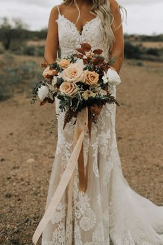 This Arizona bride looked romantic in a lace gown holding a bouquet of desert hu. This Arizona bride looked romantic in a lace gown holding a bouquet of desert hued blooms Fall Wedding Bouquets, Wedding Flower Arrangements, Fall Wedding Dresses, Fall Wedding Flowers, Floral Wedding, Wedding Colors, Bridal Bouquets, Fall Bouquets, Bohemian Wedding Flowers