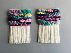 Colorful woven wall hangings