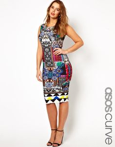 ASOS CURVE Body-Conscious Dress In Jewel Print