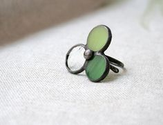 Unique ring - green clear stained glass on Etsy, $27.00