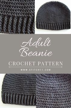 Adult Beanie for Men or Women; A perfect beanie crochet pattern for his or hers…. Adult Beanie for Men or Women; A perfect beanie crochet pattern for his or hers. This beanie fits well. Feel free to save the pattern and start crafting even on a whim! Crochet Beanie Hat Free Pattern, Mens Crochet Beanie, Crochet Blanket Patterns, Free Crochet, Hat Crochet, Crochet Hat For Men, Crochet For Beginners Blanket, Crochet Slippers, Crochet Gifts