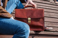 Leather briefcase for men, Personalized gift, Brown mens briefcase, Leather documents bag, Laptop bag - Arthur Briefcase For Men, Leather Briefcase, Leather Bag, Macbook 15, Empty Canvas, New Bag, Fast Fashion, Laptop Bag, Italian Leather