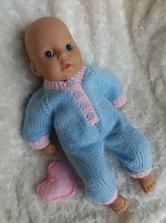 Ravelry: Baby Annabell sleepsuit pattern by linda Mary Knitted Doll Patterns, Knitted Dolls, Baby Knitting Patterns, Crochet Dolls, Baby Patterns, Crochet Baby, Knitting Yarn, Free Knitting, Crochet Birds