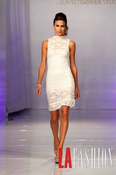 Nathanaelle Couture Design on the Runway at LA Fashion Week, Sunset Gower Studios.  To Place your orders please visit us at www.nathanaelle.com La Fashion Week, Studios, Runway, White Dress, Couture, Sunset, Dresses, Design, Cat Walk