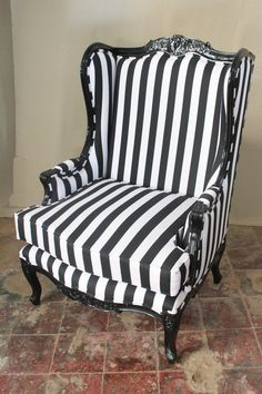 French Oreiles Louis XV Wing Back Chair Black AND Black AND White Stripe Fabric | eBay