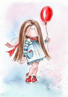 Watercolor Print - Little light brown haired girl with balloon - Watercolor Painting - Stylish little girl - Baby nursery print Kids room