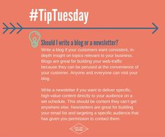 Are you team blog or team newsletter? Comment below and tell us why! Both have their purpose, but we're #allaboutthatblog. #TipTuesday #ContentMarketing #Decisions