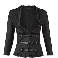 Womens Black Goth Victorian Steampunk Jacket with Lace Details ($70) ❤ liked on Polyvore featuring outerwear, jackets, gothic victorian jacket, gothic jackets, steam punk jacket, victorian jacket and steampunk jacket