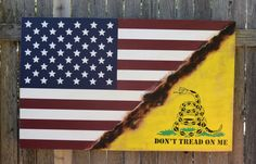 American Flag, Don't Tread On Me Flag, Gadsden Flag, Revolutionary War, Patriotic,  Rustic, Distressed, Fourth of July,  Hand Painted, by CambrisCottage on Etsy