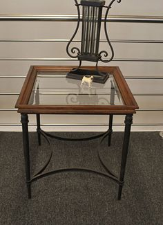 Stylish Black Metal & Timber Side / Lamp Table with Inset Bevelled Glass Top