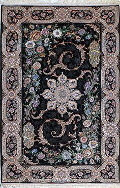 Isfahan Black Persian Silk Rug 5x8-6x8✌️