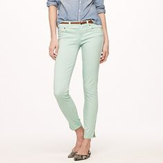 Garment-dyed ankle-zip toothpick jean