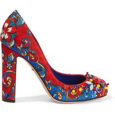 Dolce & Gabbana Embellished printed brocade pumps