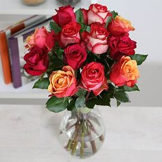 Latin Fire Rose Bouquet With Free Express Delivery - From Lakeland Valentine Treats, Valentines, Rose Bouquet, Flower Delivery, Pretty Flowers, Glass Vase, Wedding Flowers, Floral Wreath, Wreaths