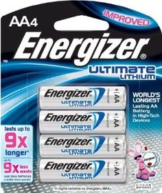 """Energizer L91BP4 AA Lithium Batteries 4-Count, Lasts 9 Times Longer - NON RECHARGEABLE """"emergency back-up"""" batteries for external flash units or flashlights"""