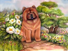 an original painting of a smooth Chow Chow ...24 hours left on ebay!!!